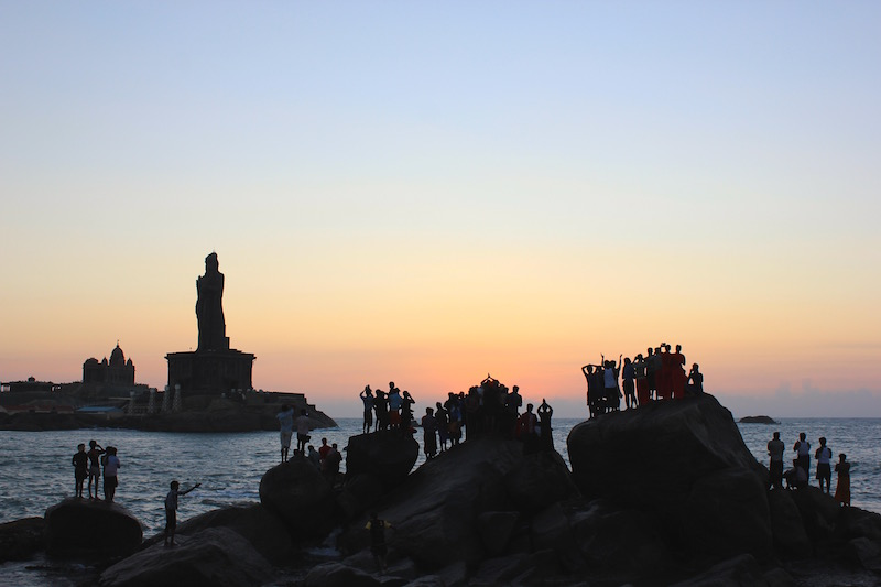 sunrise prayer in Kanyakumari, India