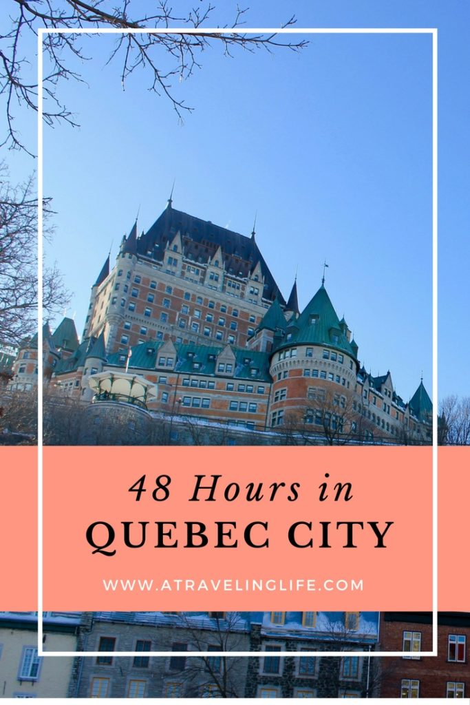 This is my itinerary for how to spend 48 hours in Quebec City, Canada. All the best things to do and see, the best places to eat, and where to stay in Quebec City. | Montmorency Falls | Old Town Quebec City | First Nations' community of Wendake | Quebec City Ice Hotel | Quebec City winter | Quebec City things to do | restaurants in Quebec City | #Canada #QuebecCity #wintertravel