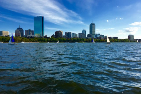 Boston skyline from a duck boat tour on Boston Harbor with the GO Boston Card