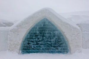 outside close up of Hotel de Glace in Quebec City