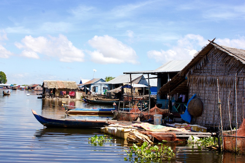 the floating village of Tonle Sap Lake in Cambodia