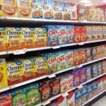 cereal aisle in United States grocery story